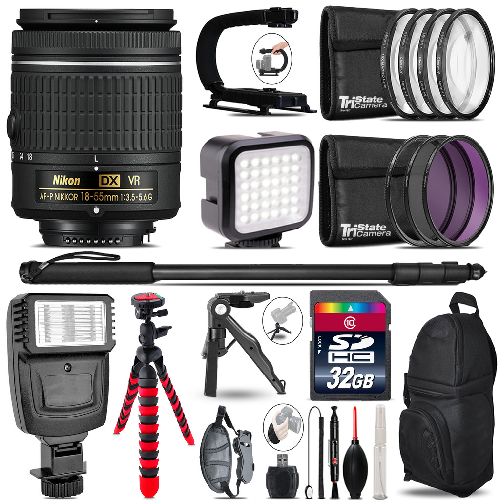 Nikon AF-P 18-55mm VR -Video Kit + Slave Flash + Monopod - 32GB Accessory Bundle *FREE SHIPPING*