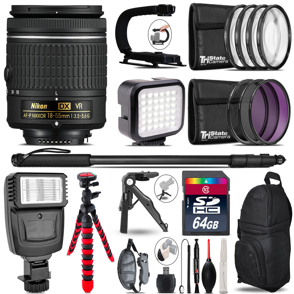 Nikon AF-P 18-55mm VR -Video Kit + Slave Flash + Monopod - 64GB Accessory Bundle *FREE SHIPPING*