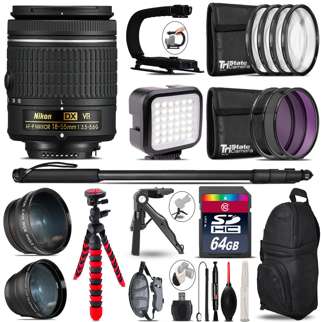Nikon AF-P 18-55mm VR - Video Kit + LED KIt + Monopod - 64GB Accessory Bundle *FREE SHIPPING*