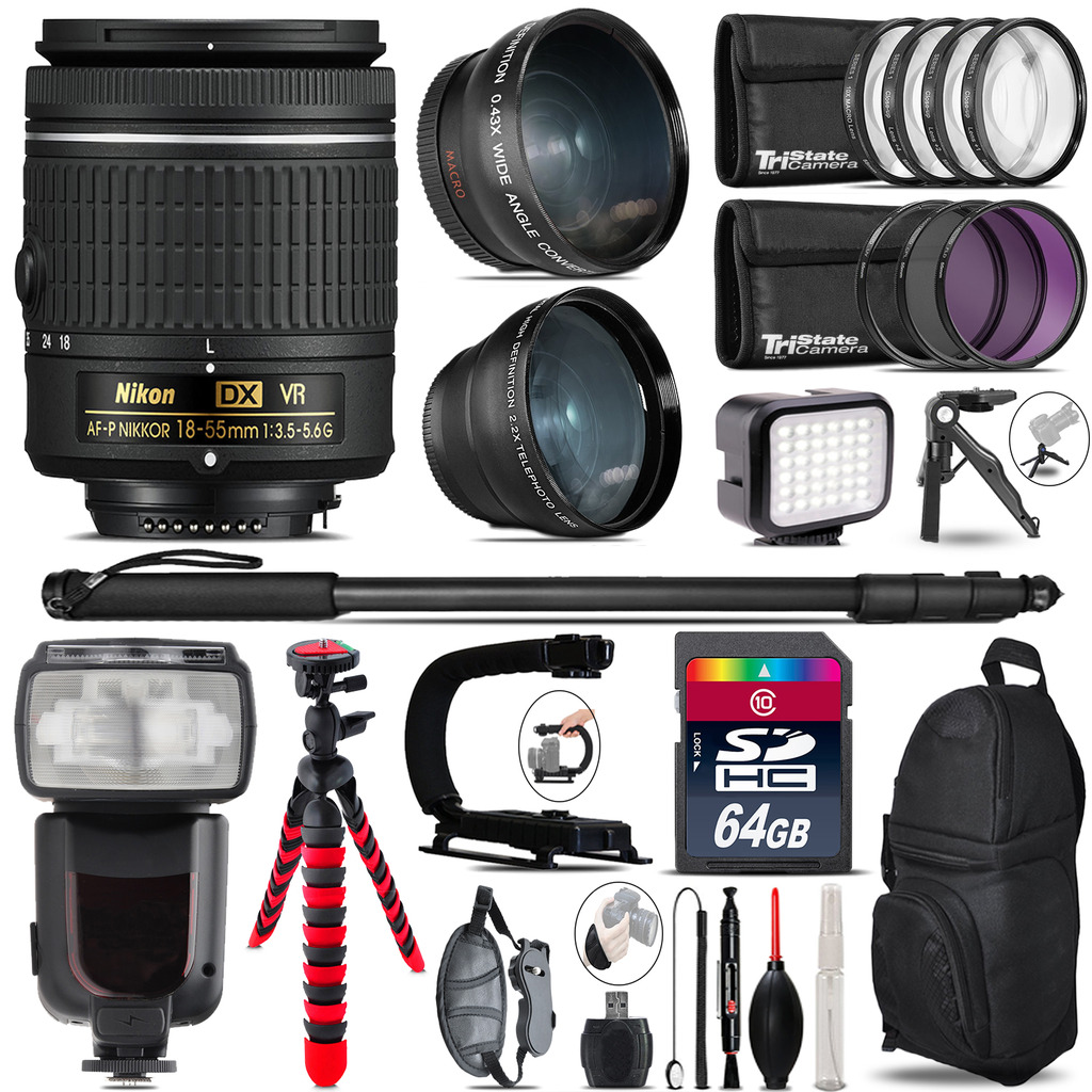 Nikon AF-P 18-55mm VR + Pro Flash + LED Light + Tripod - 64GB Accessory Bundle *FREE SHIPPING*