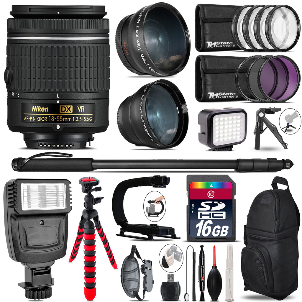 Nikon AF-P 18-55mm VR + Slave Flash + LED Light + Tripod - 16GB Accessory Bundle *FREE SHIPPING*