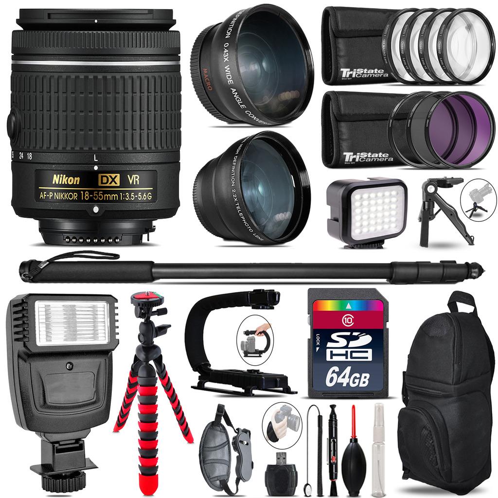 Nikon AF-P 18-55mm VR + Slave Flash + LED Light + Tripod - 64GB Accessory Bundle *FREE SHIPPING*