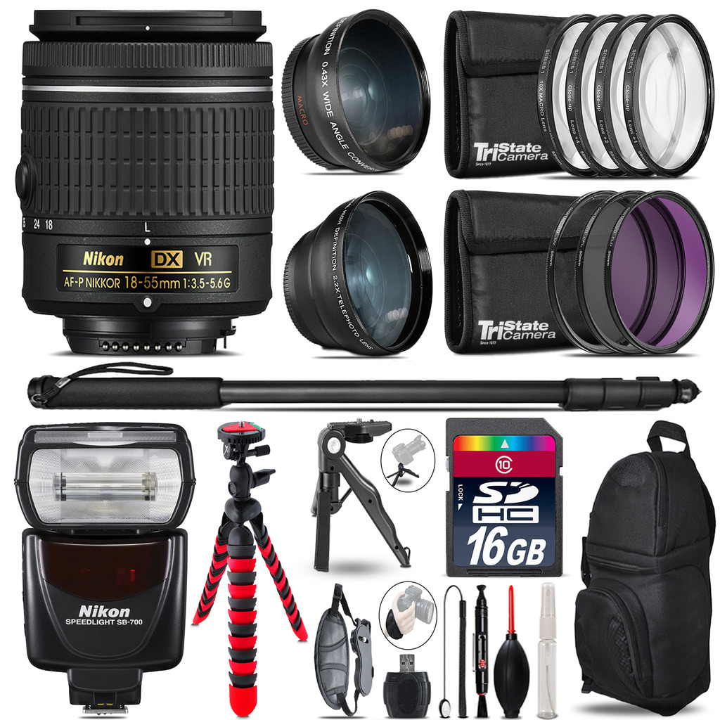 Nikon AF-P 18-55mm VR + SB-700 AF Speedlight - 3 Lens Kit - 16GB Accessory Kit *FREE SHIPPING*