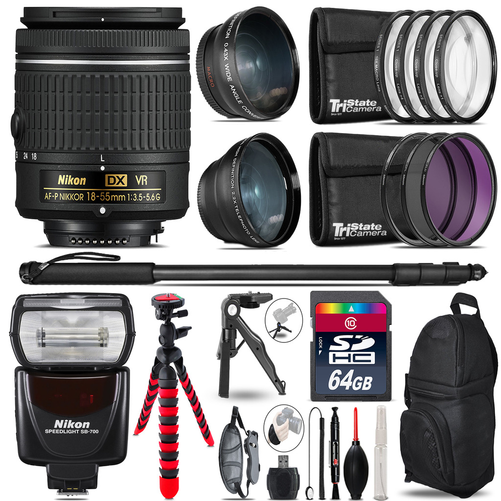 Nikon AF-P 18-55mm VR + SB-700 AF Speedlight - 3 Lens Kit - 64GB Accessory Kit *FREE SHIPPING*