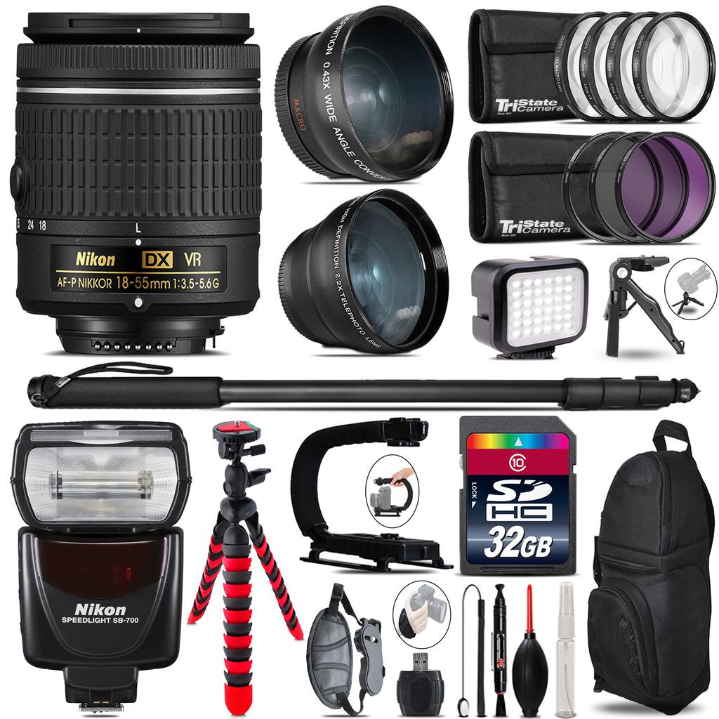 Nikon AF-P 18-55mm VR + SB-700 AF Speedlight - LED LIGHT - 32GB Accessory Kit *FREE SHIPPING*