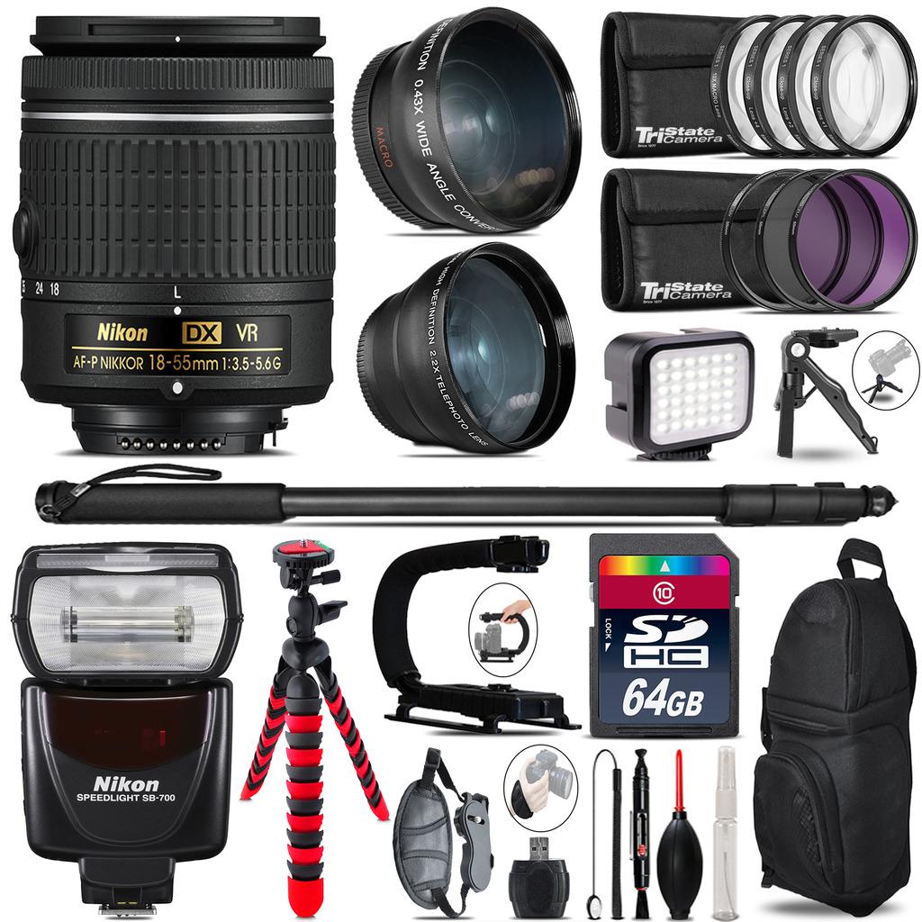 Nikon AF-P 18-55mm VR + SB-700 AF Speedlight - LED LIGHT - 64GB Accessory Kit *FREE SHIPPING*