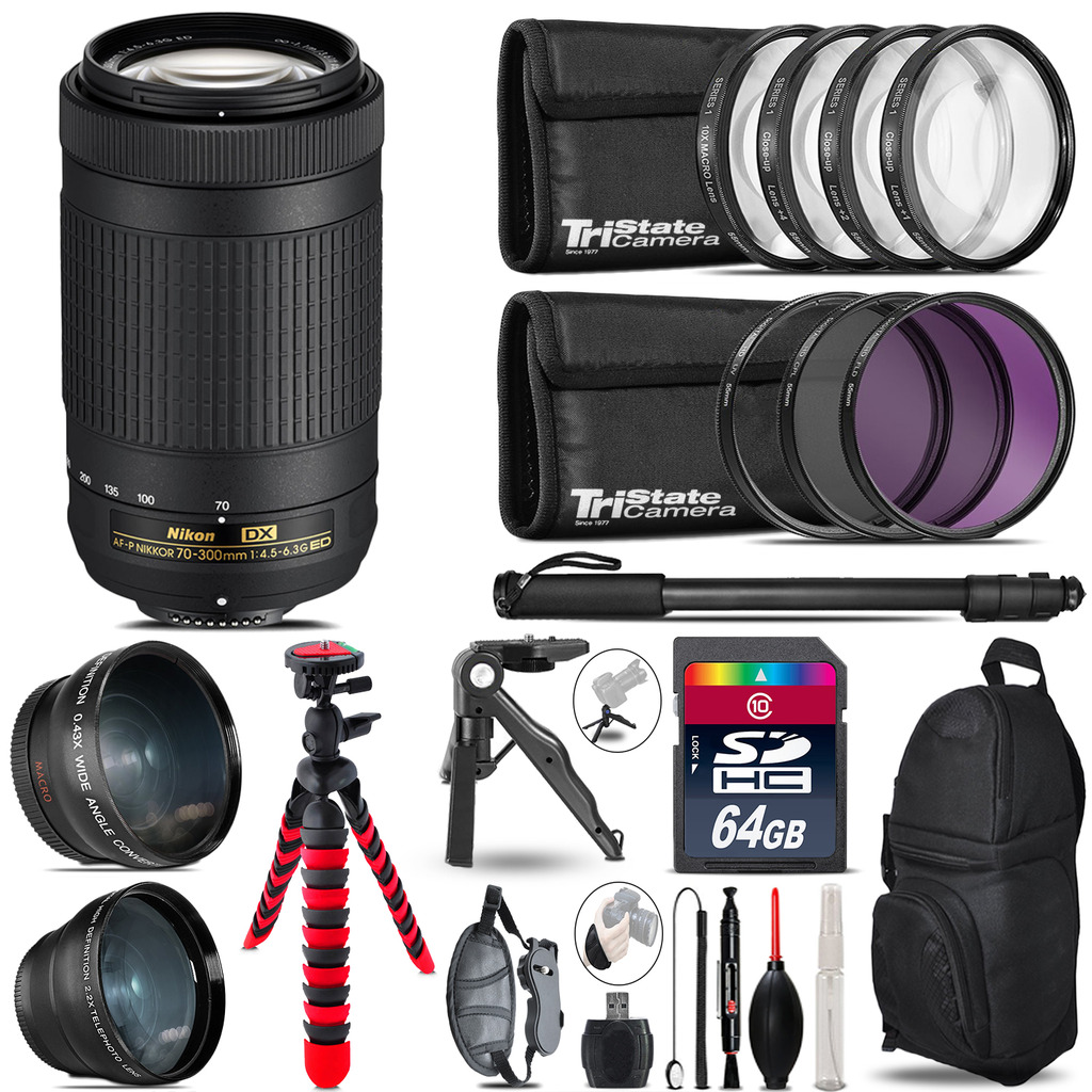 Nikon AF-P 70-300mm - 3 Lens Kit + Tripod + Backpack - 64GB Accessory Bundle *FREE SHIPPING*