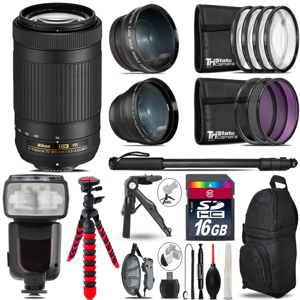 Nikon AFP 70-300mm VR - 3 Lens Kit + Professional Flash - 16GB Accessory Bundle *FREE SHIPPING*