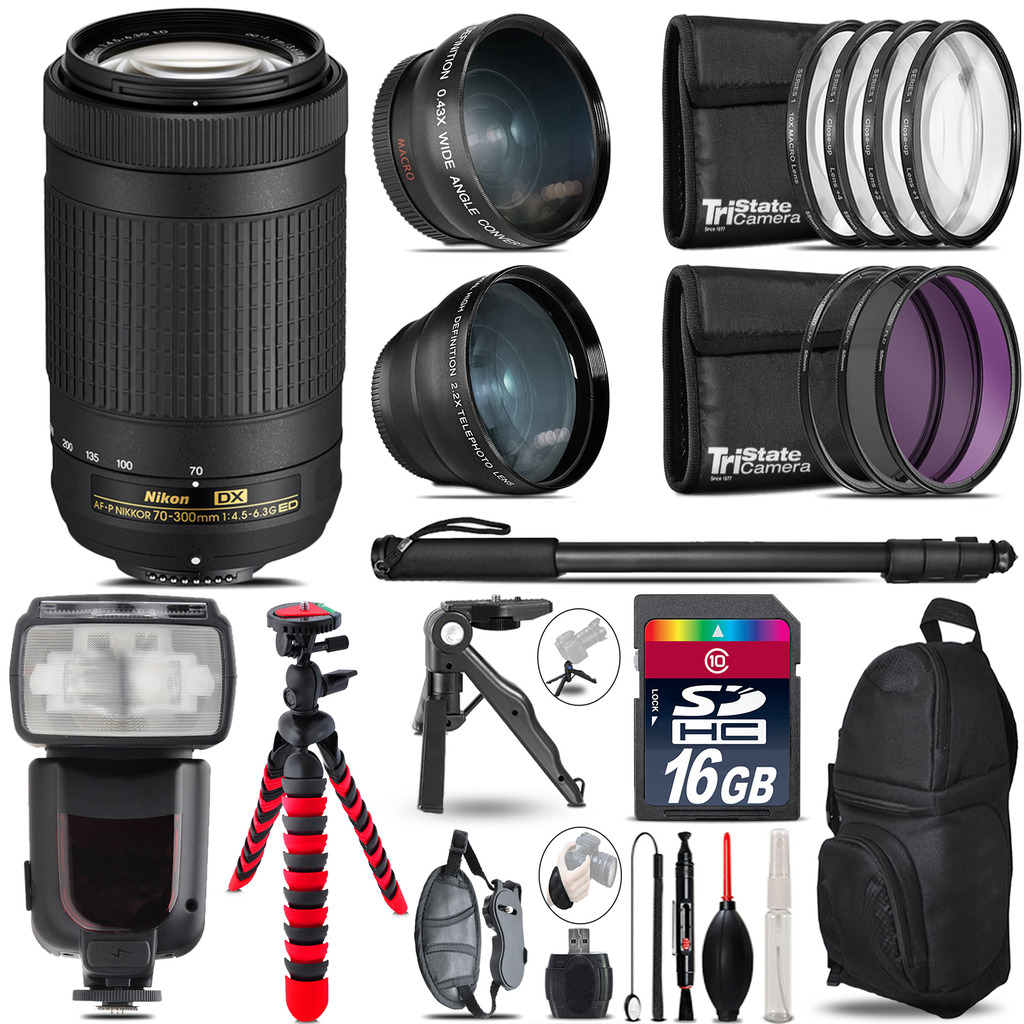 Nikon AF-P 70-300mm - 3 Lens Kit + Professional Flash - 16GB Accessory Bundle *FREE SHIPPING*