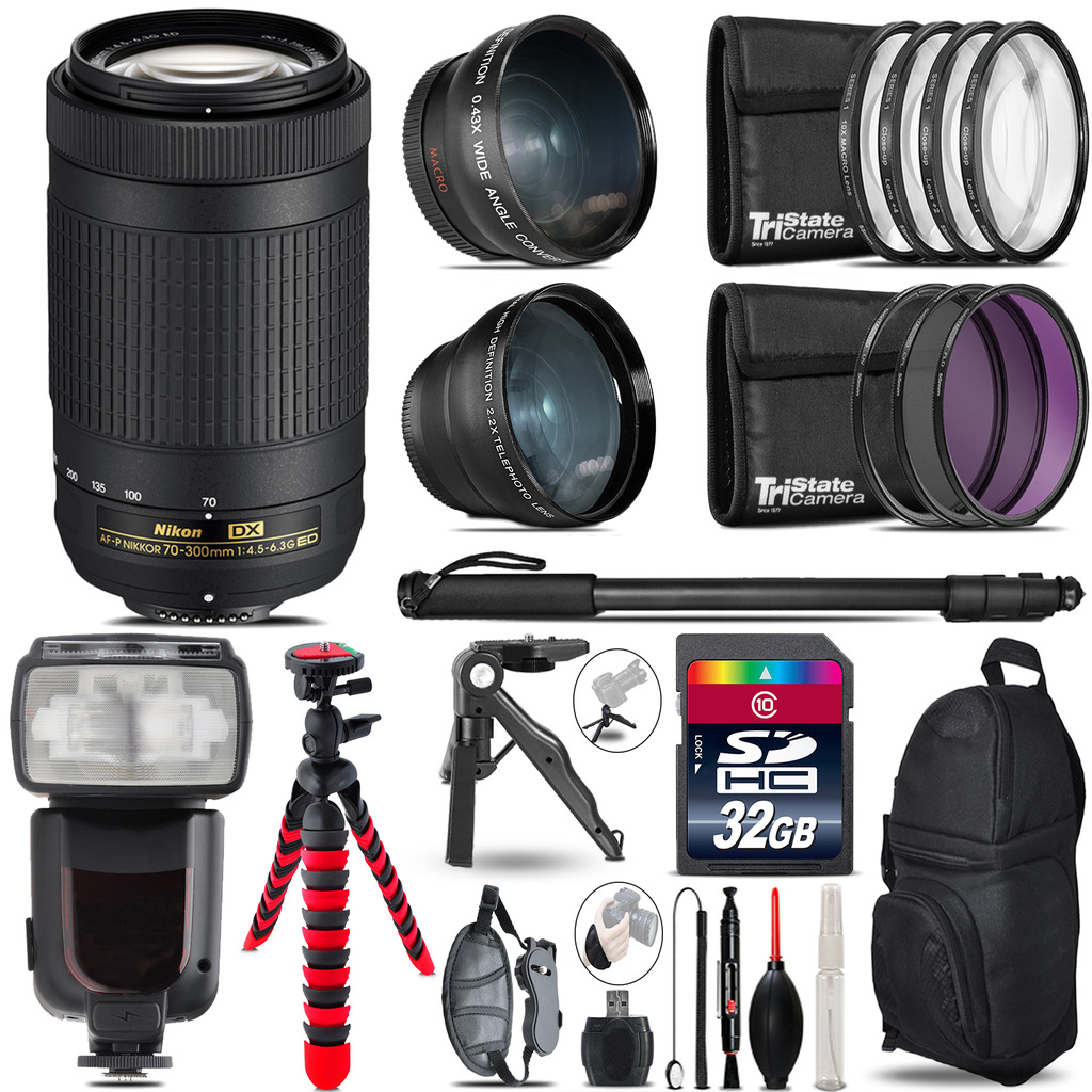 Nikon AF-P 70-300mm - 3 Lens Kit + Professional Flash - 32GB Accessory Bundle *FREE SHIPPING*