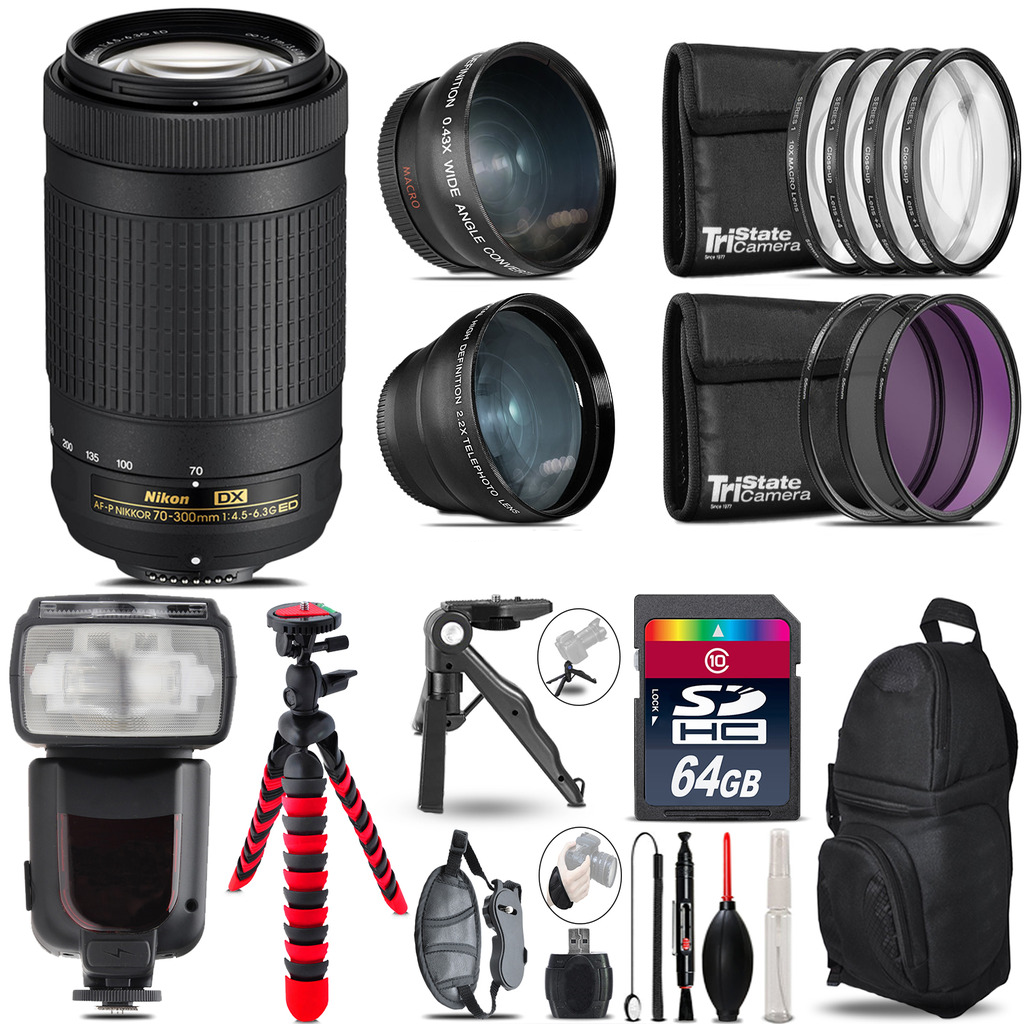 Nikon AF-P 70-300mm - 3 Lens Kit + Professional Flash - 64GB Accessory Bundle *FREE SHIPPING*