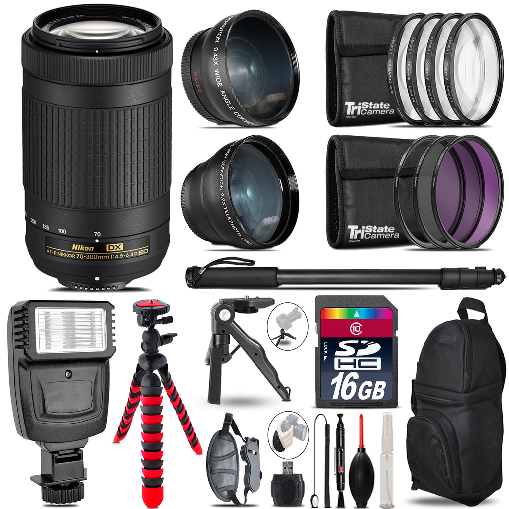 Nikon AF-P 70-300mm -3 Lens Kit + Slave Flash + Tripod - 16GB Accessory Bundle *FREE SHIPPING*
