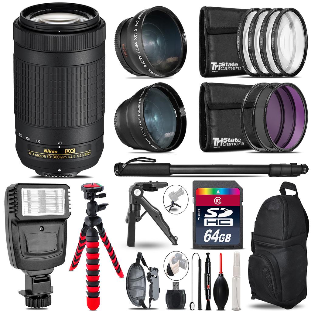 Nikon AF-P 70-300mm -3 Lens Kit + Slave Flash + Tripod - 64GB Accessory Bundle *FREE SHIPPING*
