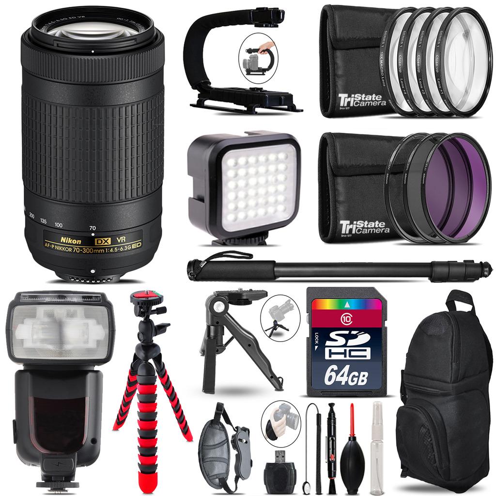 Nikon AFP 70-300mm VR - Video Kit + Pro Flash + Monopod - 64GB Accessory Bundle *FREE SHIPPING*