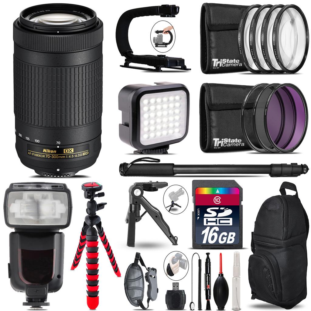 Nikon AF-P 70-300mm - Video Kit + Pro Flash + Monopod - 16GB Accessory Bundle *FREE SHIPPING*