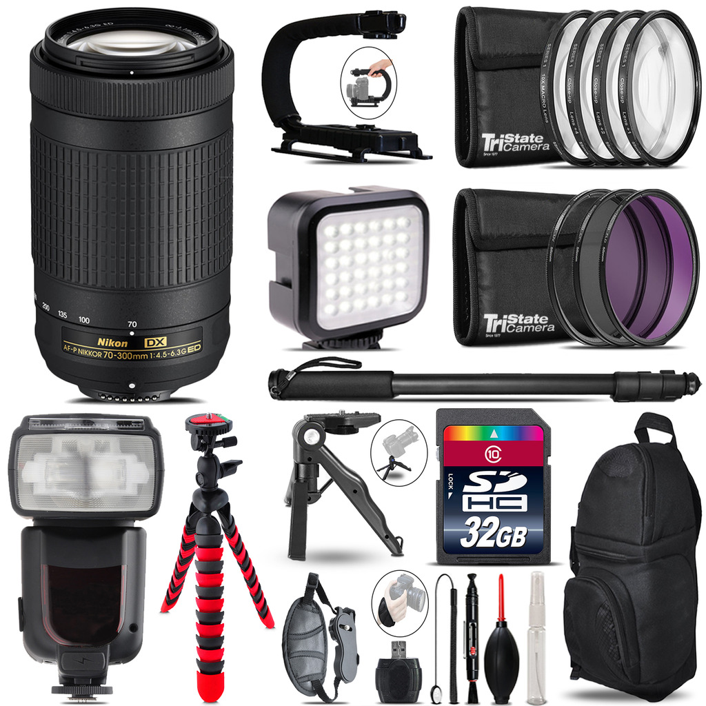 Nikon AF-P 70-300mm - Video Kit + Pro Flash + Monopod - 32GB Accessory Bundle *FREE SHIPPING*