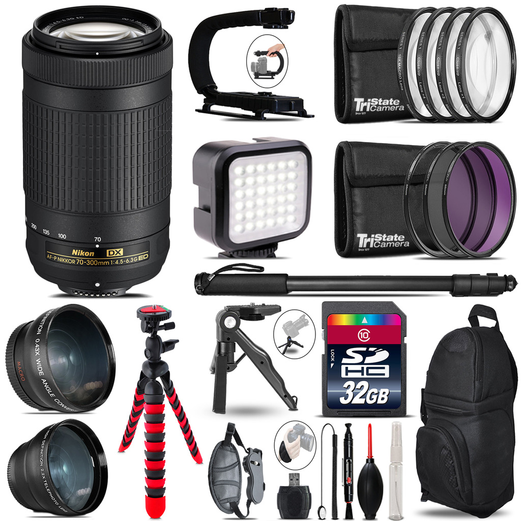 Nikon AF-P 70-300mm -Video Kit + LED KIt + Monopod - 32GB Accessory Bundle *FREE SHIPPING*
