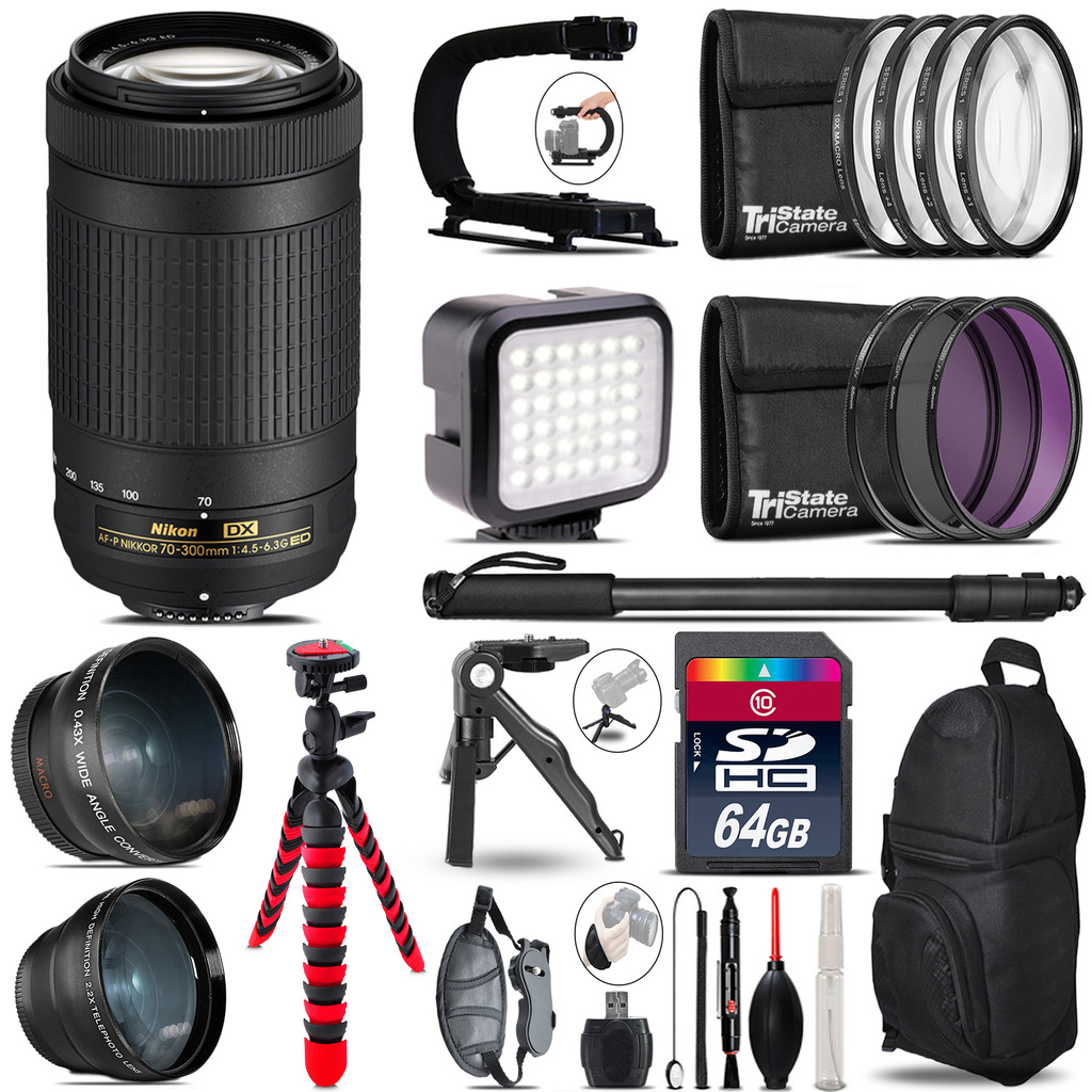 Nikon AF-P 70-300mm -Video Kit + LED KIt + Monopod - 64GB Accessory Bundle *FREE SHIPPING*