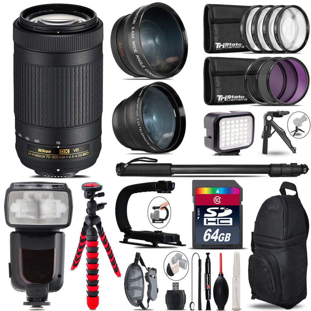 Nikon AFP 70-300mm VR + Pro Flash + LED Light + Tripod - 64GB Accessory Bundle *FREE SHIPPING*