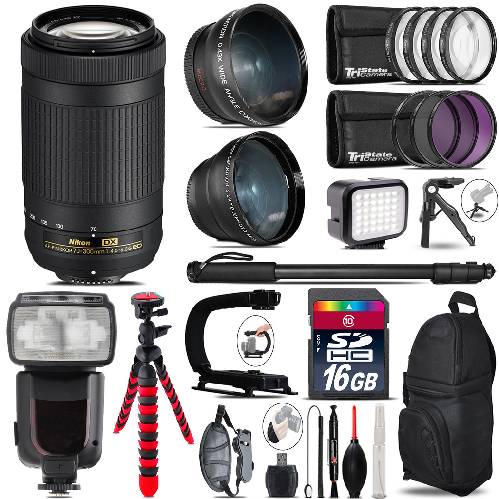 Nikon AF-P 70-300mm + Pro Flash + LED Light + Tripod - 16GB Accessory Bundle *FREE SHIPPING*