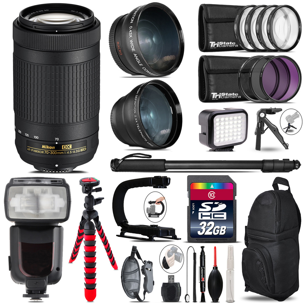 Nikon AF-P 70-300mm + Pro Flash + LED Light + Tripod - 32GB Accessory Bundle *FREE SHIPPING*