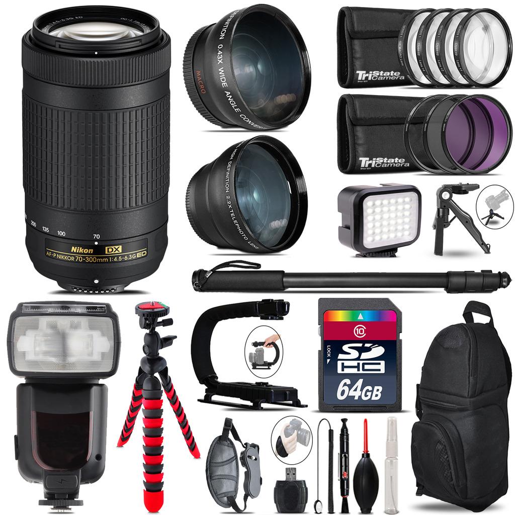 Nikon AF-P 70-300mm + Pro Flash + LED Light + Tripod - 64GB Accessory Bundle *FREE SHIPPING*