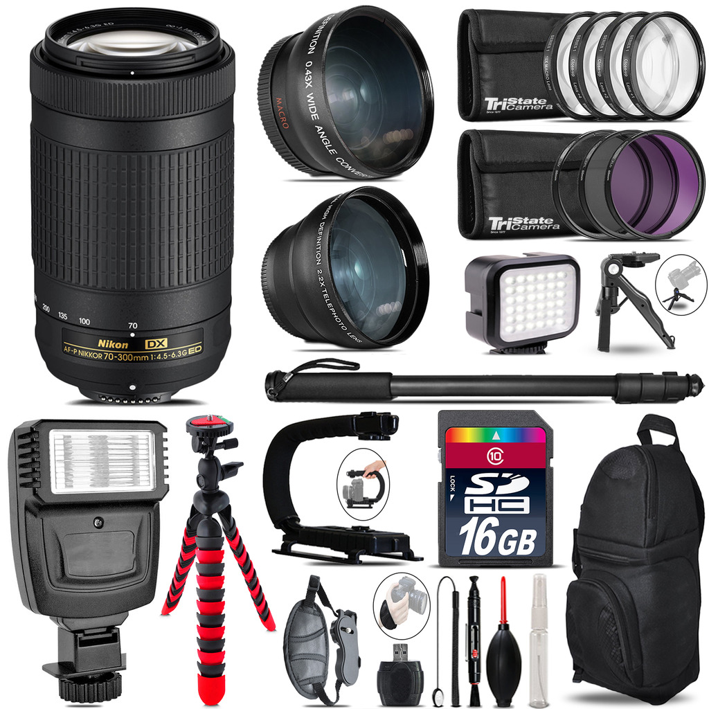 Nikon AF-P 70-300mm + Slave Flash + LED Light + Tripod - 16GB Accessory Bundle *FREE SHIPPING*