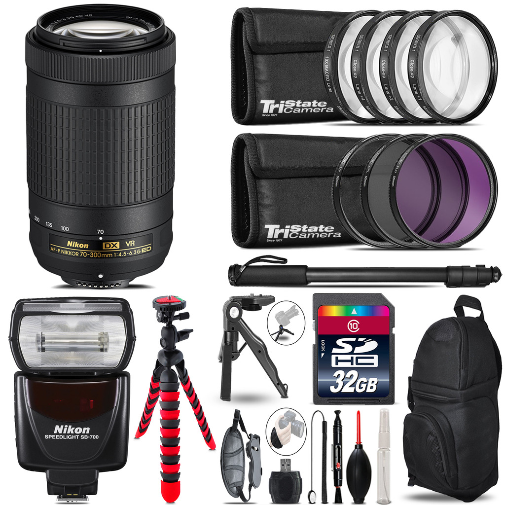 Nikon AFP 70-300mm VR + SB-700 AF Speedlight + UV-CPL-FLD - 32GB Accessory Kit *FREE SHIPPING*