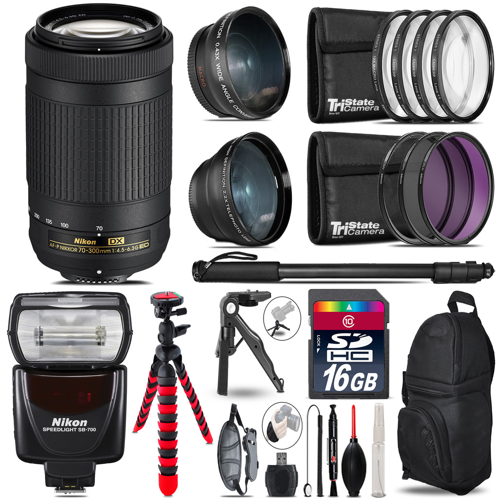 Nikon AF-P 70-300mm + SB-700 AF Speedlight - 3 Lens Kit - 16GB Accessory Kit *FREE SHIPPING*