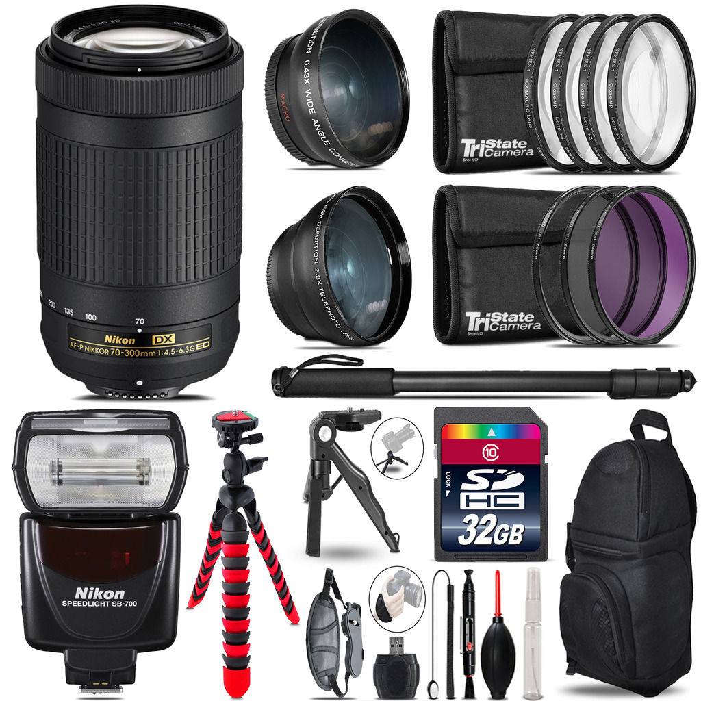 Nikon AF-P 70-300mm + SB-700 AF Speedlight - 3 Lens Kit - 32GB Accessory Kit *FREE SHIPPING*