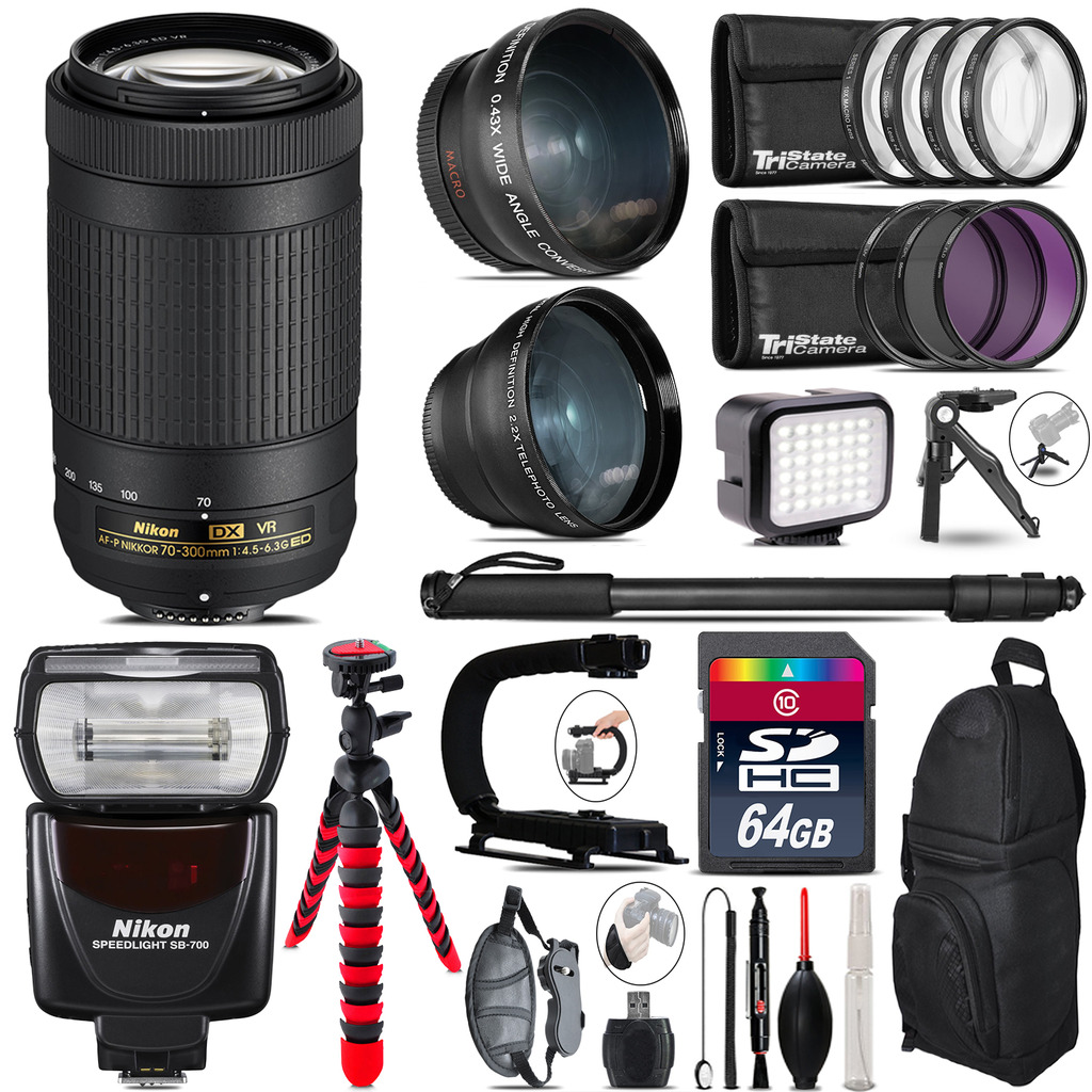Nikon AFP 70-300mm VR + SB-700 AF Speedlight - LED LIGHT - 64GB Accessory Kit *FREE SHIPPING*