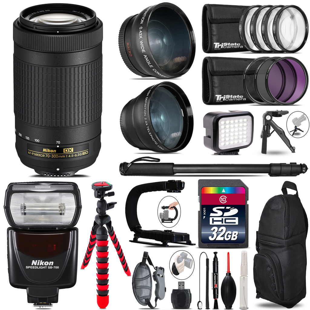 Nikon AF-P 70-300mm + SB-700 AF Speedlight - LED LIGHT - 32GB Accessory Kit *FREE SHIPPING*