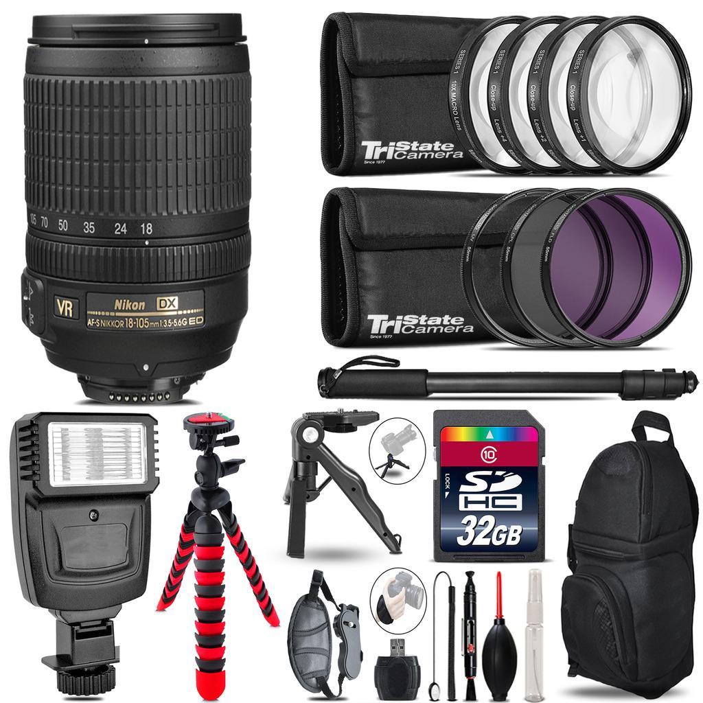 Nikon DX 18-105mm VR + Slave Flash + MACRO, UV-CPL-FLD - 32GB Accessory Bundle *FREE SHIPPING*