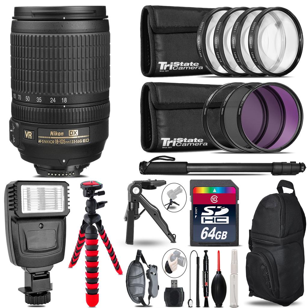 Nikon DX 18-105mm VR + Slave Flash + MACRO, UV-CPL-FLD - 64GB Accessory Bundle *FREE SHIPPING*