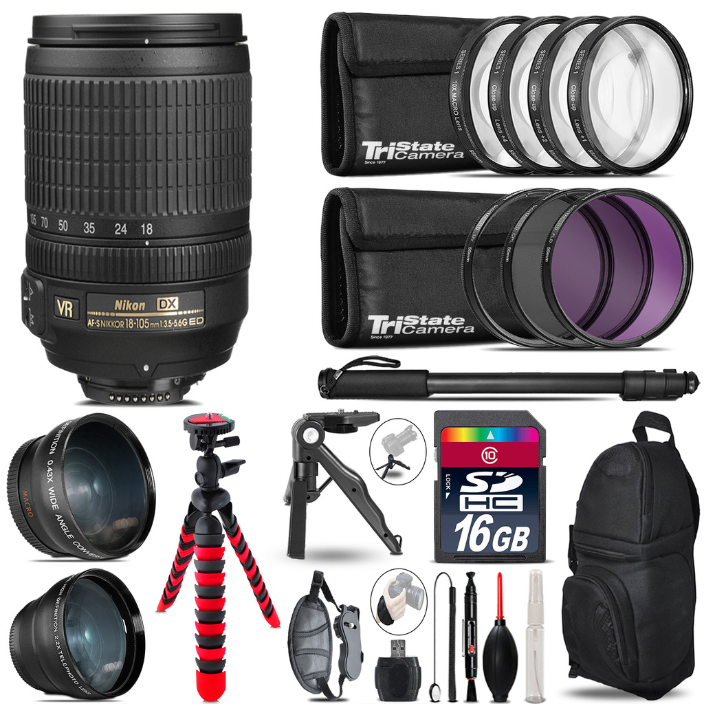 Nikon DX 18-105mm VR - 3 Lens Kit + Tripod + Backpack - 16GB Accessory Bundle *FREE SHIPPING*