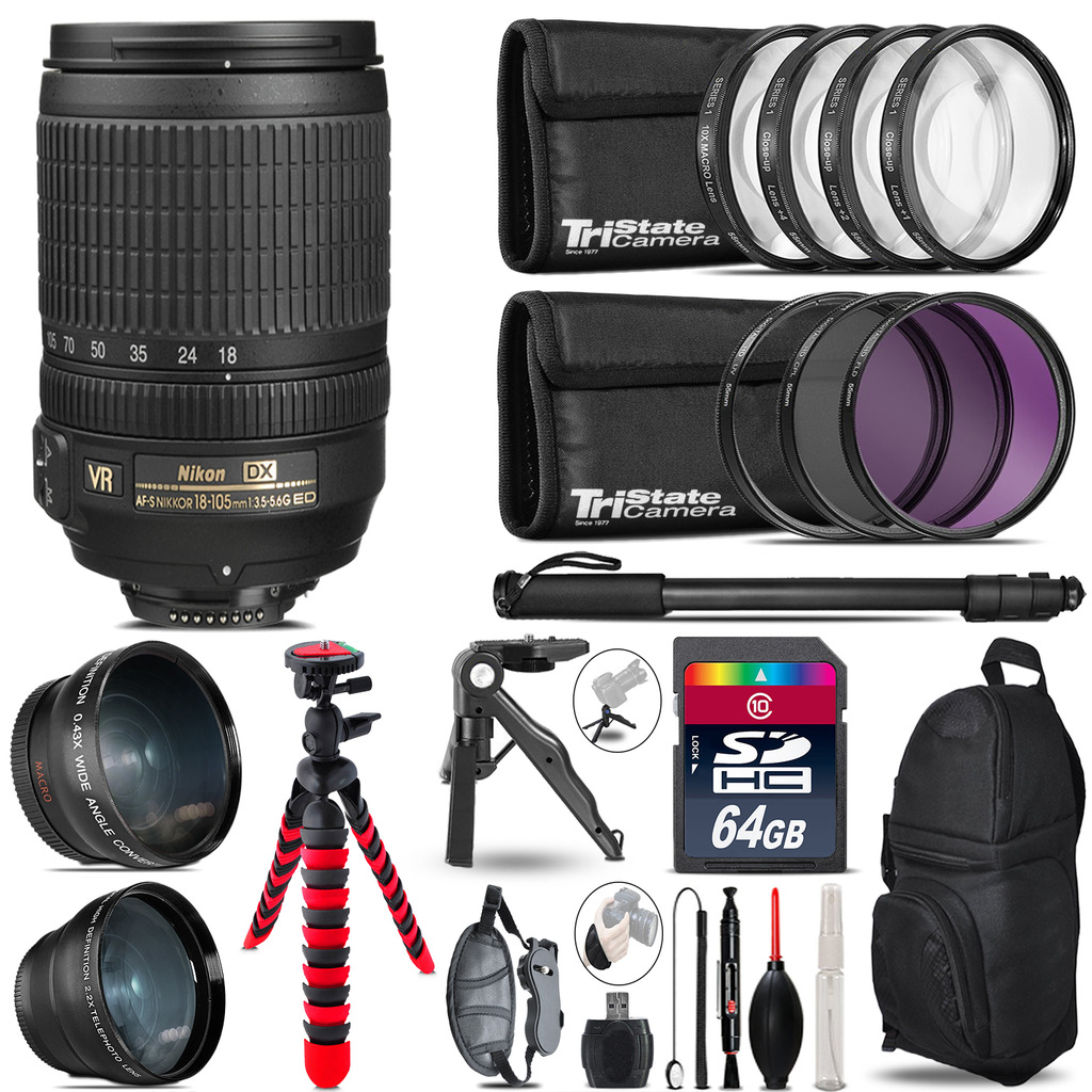Nikon DX 18-105mm VR - 3 Lens Kit + Tripod + Backpack - 64GB Accessory Bundle *FREE SHIPPING*