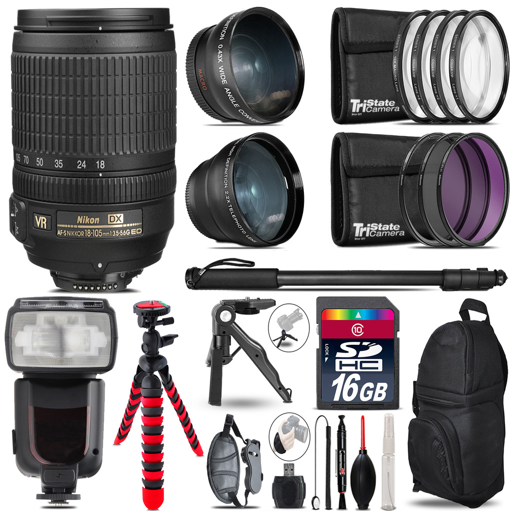 Nikon DX 18-105mm VR - 3 Lens Kit + Professional Flash - 16GB Accessory Bundle *FREE SHIPPING*