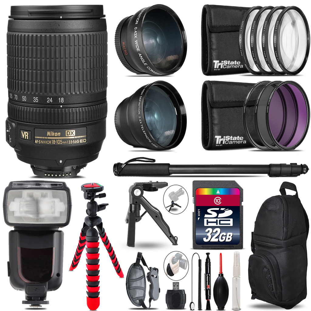 Nikon DX 18-105mm VR - 3 Lens Kit + Professional Flash - 32GB Accessory Bundle *FREE SHIPPING*
