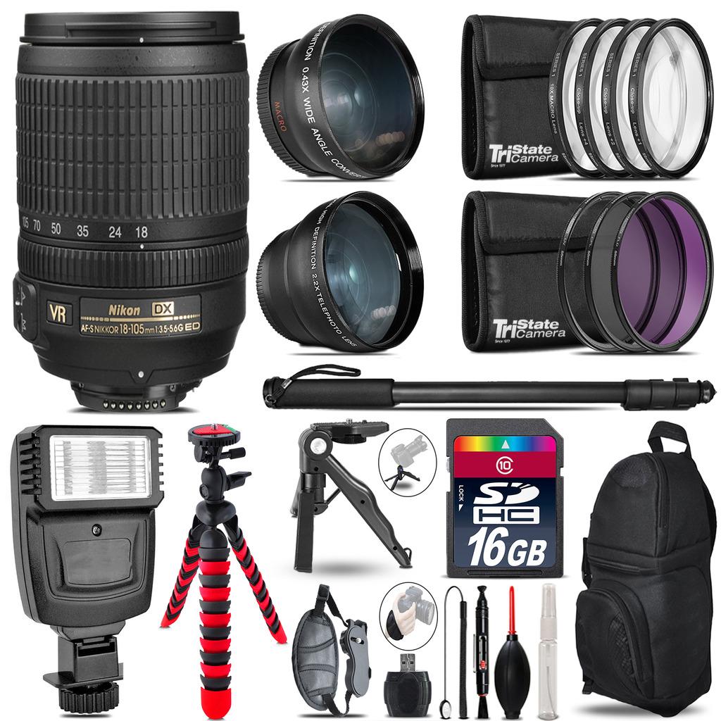 Nikon DX 18-105mm VR -3 Lens Kit + Slave Flash + Tripod - 16GB Accessory Bundle *FREE SHIPPING*