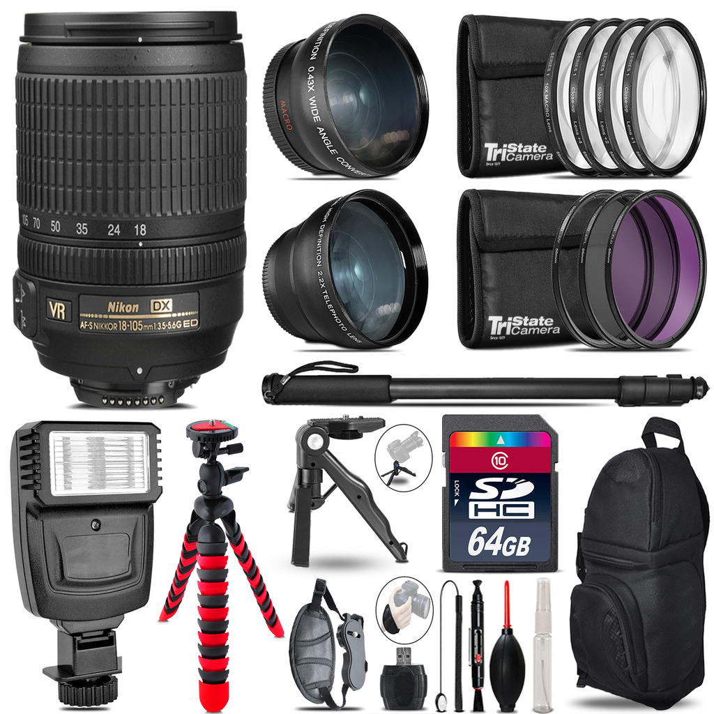 Nikon DX 18-105mm VR -3 Lens Kit + Slave Flash + Tripod - 64GB Accessory Bundle *FREE SHIPPING*