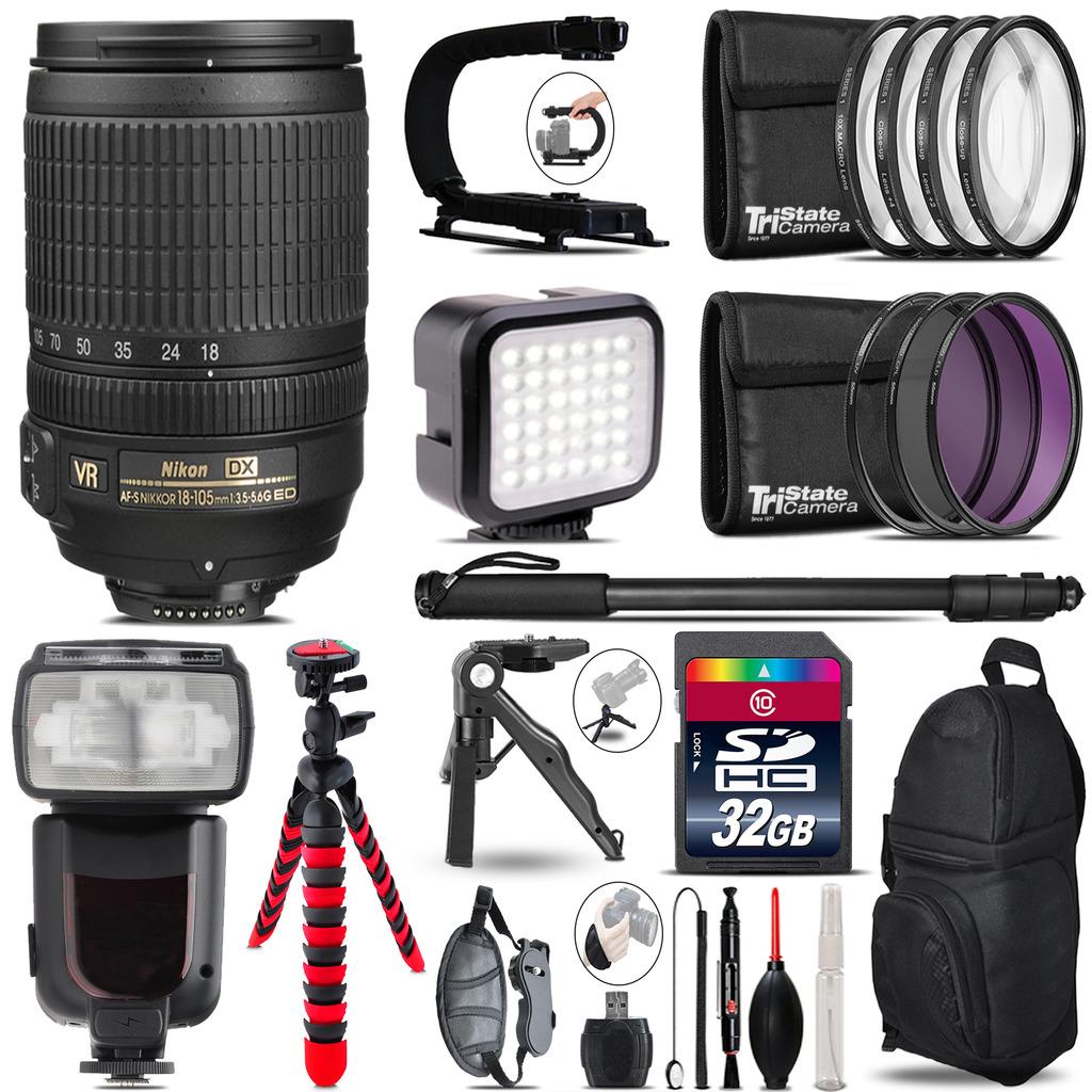 Nikon DX 18-105mm VR - Video Kit + Pro Flash + Monopod - 32GB Accessory Bundle *FREE SHIPPING*