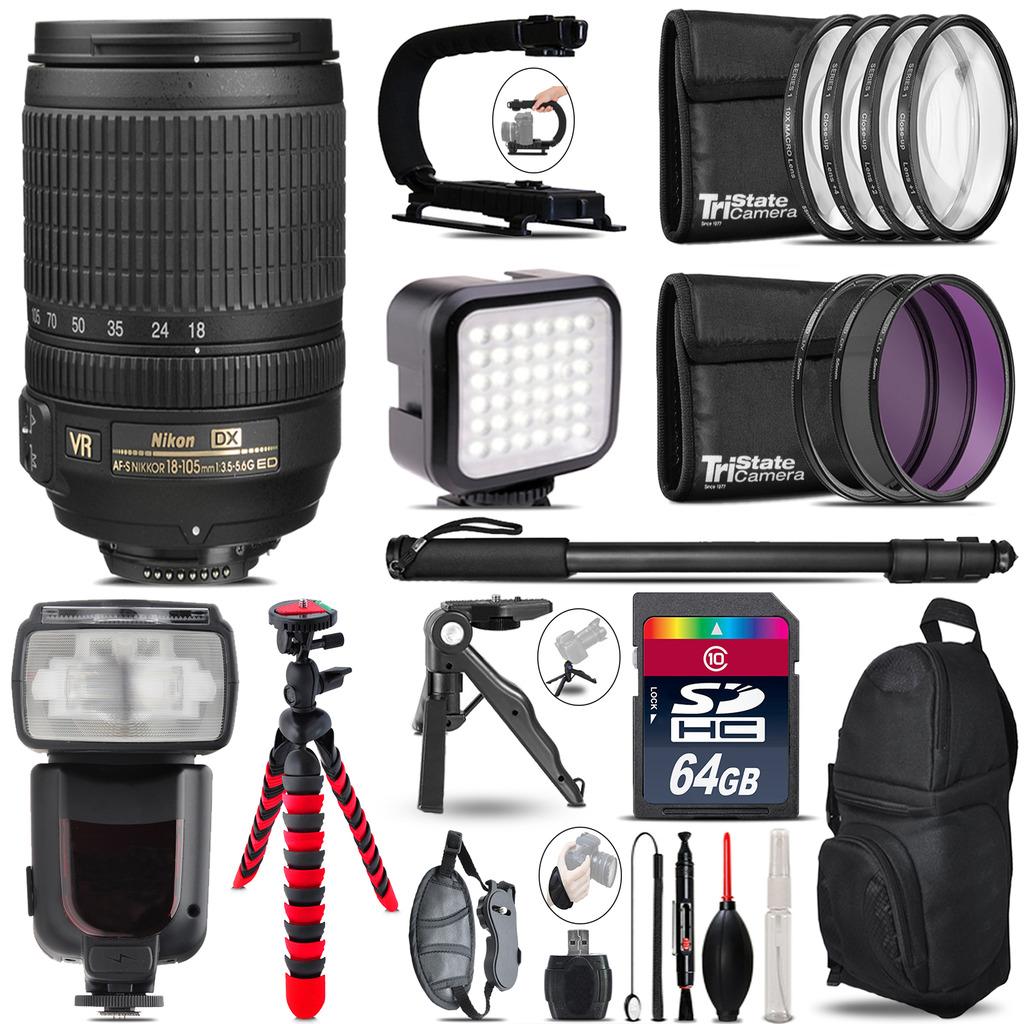 Nikon DX 18-105mm VR - Video Kit + Pro Flash + Monopod - 64GB Accessory Bundle *FREE SHIPPING*