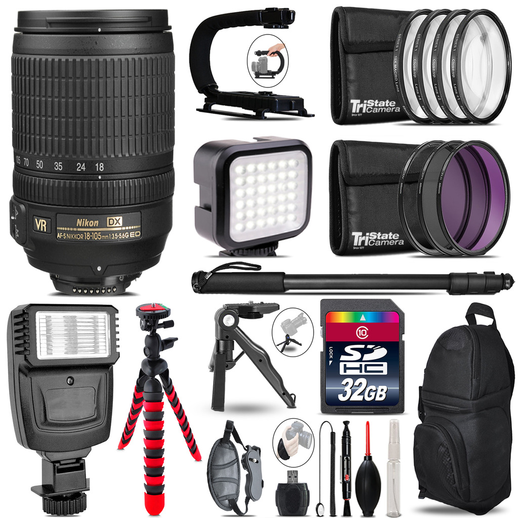 Nikon DX 18-105mm VR -Video Kit + Slave Flash + Monopod - 32GB Accessory Bundle *FREE SHIPPING*