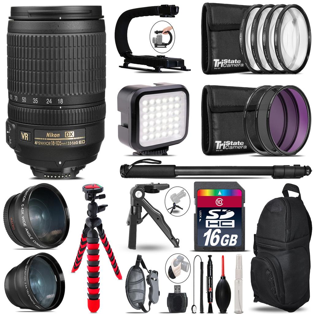 Nikon AF-S 18-105mm VR -Video Kit + LED KIt + Monopod - 16GB Accessory Bundle *FREE SHIPPING*