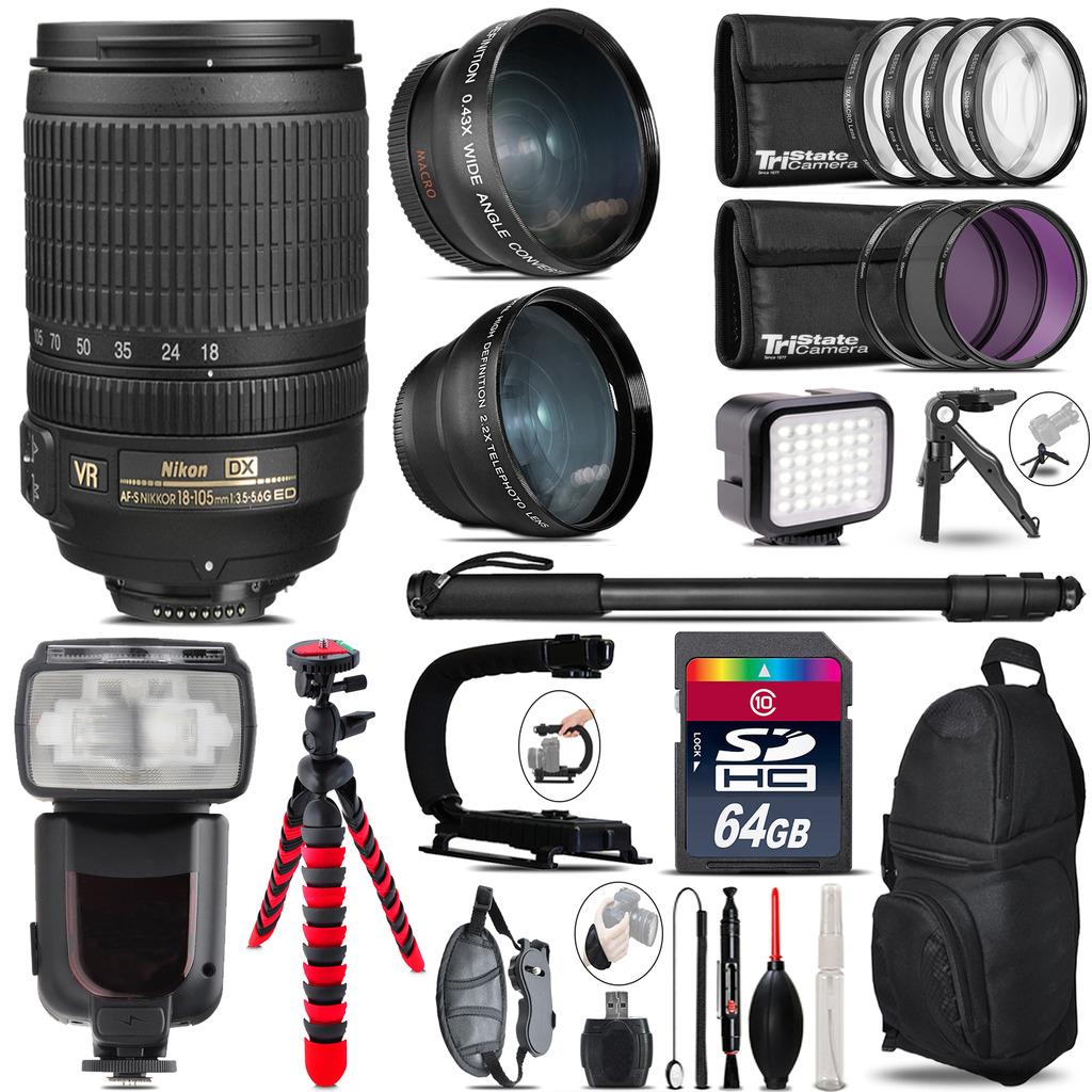 Nikon DX 18-105mm VR + Pro Flash + LED Light + Tripod - 64GB Accessory Bundle *FREE SHIPPING*