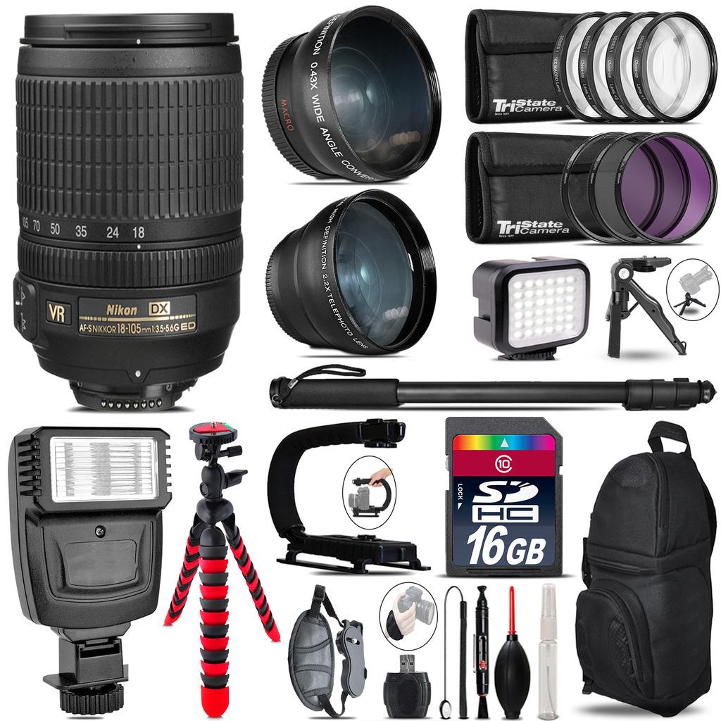Nikon DX 18-105mm VR + Slave Flash + LED Light + Tripod - 16GB Accessory Bundle *FREE SHIPPING*