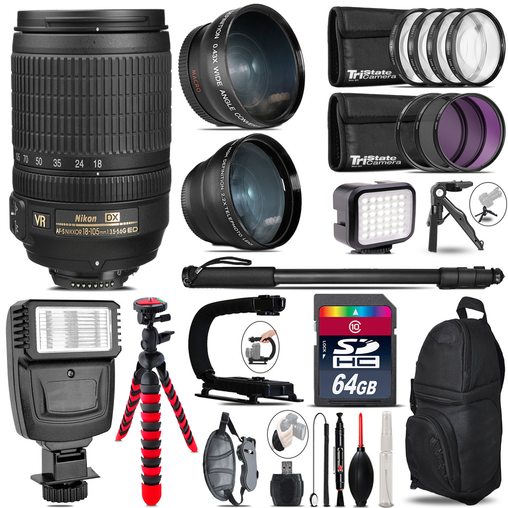 Nikon DX 18-105mm VR + Slave Flash + LED Light + Tripod - 64GB Accessory Bundle *FREE SHIPPING*
