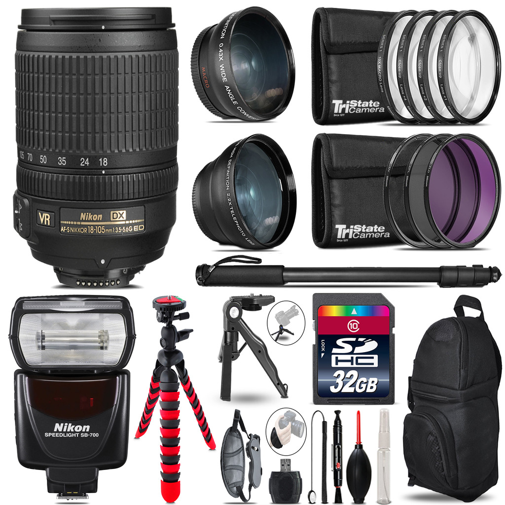 Nikon DX 18-105mm VR + SB-700 AF Speedlight - 3 Lens Kit - 32GB Accessory Kit *FREE SHIPPING*