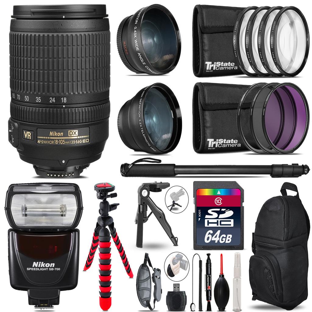 Nikon DX 18-105mm VR + SB-700 AF Speedlight - 3 Lens Kit - 64GB Accessory Kit *FREE SHIPPING*