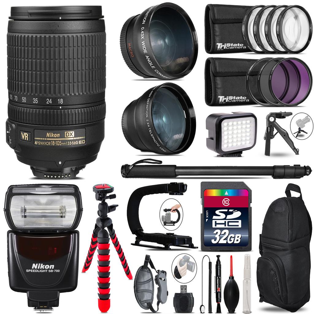 Nikon DX 18-105mm VR + SB-700 AF Speedlight - LED LIGHT - 32GB Accessory Kit *FREE SHIPPING*